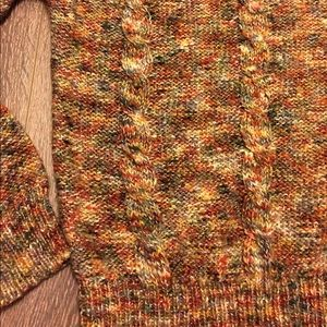 Multi-Colored Speckled Cable Knit Vintage Sweater